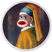 Round Beach Towel featuring the painting Gal With A Pearl Earbob by Randol Burns