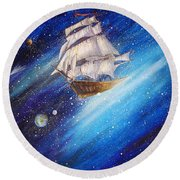 Galactic Traveler Round Beach Towel