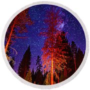 Round Beach Towel featuring the photograph Galaxy Stars By The Campfire by Jerry Cowart