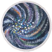 Round Beach Towel featuring the painting Galaxy Swirl by Judith Rhue