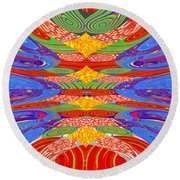 Galaxy Transit Union Ufo Docking Station Fantasy 2050 Art Background Designs  And Color Tones N Colo Round Beach Towel