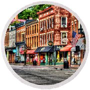 Galena Main Street Early Summer Morning Round Beach Towel