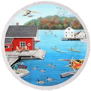 Galloping Goose Lake Round Beach Towel