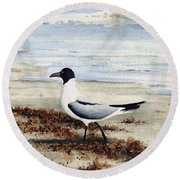 Galveston Gull Round Beach Towel