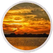 Galveston Island Sunset Dsc02805 Round Beach Towel
