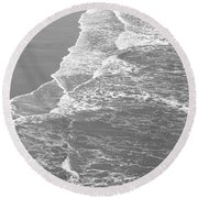 Galveston Tide In Grayscale Round Beach Towel by Connie Fox