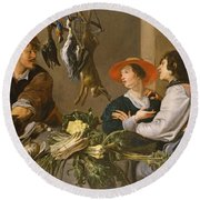 Game And Vegetable Sellers Oil On Canvas Round Beach Towel by Theodor Rombouts