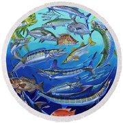 Gamefish Collage In0031 Round Beach Towel by Carey Chen