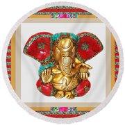 Ganapati Ganesh Idol Hinduism Religion Religious Spiritual Yoga Meditation Deco Navinjoshi  Rights M Round Beach Towel