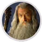 Gandalf Round Beach Towel by Paul Tagliamonte
