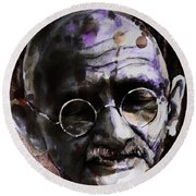 Round Beach Towel featuring the painting Gandhi by Laur Iduc