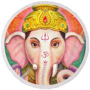 Ganesha's Blessing Round Beach Towel