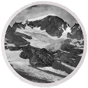 509427-bw-gannett Peak And Gooseneck Glacier, Wind Rivers Round Beach Towel