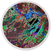 In And Out Of The Garden Stained Glass Round Beach Towel