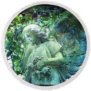 Garden Angel - Divine Messenger Round Beach Towel by Absinthe Art By Michelle LeAnn Scott