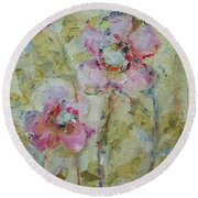 Round Beach Towel featuring the painting Garden Bliss by Mary Wolf