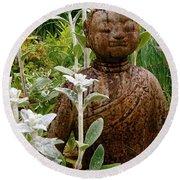 Garden Buddha Round Beach Towel