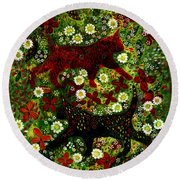Garden Cats Round Beach Towel