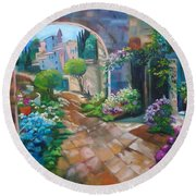 Garden Courtyard Round Beach Towel by Jenny Lee