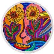 Garden Face - Lotus Pond - Daisy Eyes Round Beach Towel