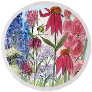 Garden Flower And Bees Round Beach Towel