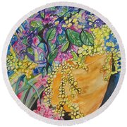 Garden Flowers In A Pot Round Beach Towel by Esther Newman-Cohen