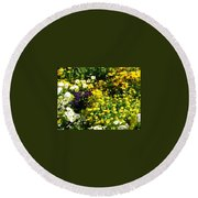 Garden Flowers Round Beach Towel by Oleg Zavarzin