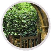 Garden Gate In Sarlat Round Beach Towel