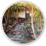 Garden Gate To Rosemary's Cottage Round Beach Towel