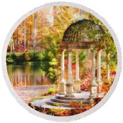 Garden Of Beauty Round Beach Towel