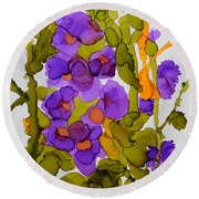 Garden Of Hollyhocks Round Beach Towel by Vicki  Housel
