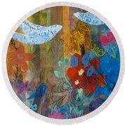 Garden Of Love Round Beach Towel