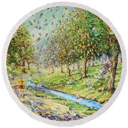 Garden Of Prosperity Round Beach Towel
