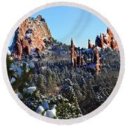 Round Beach Towel featuring the photograph Garden Of The Gods After Snow Colorado Landscape by Jon Holiday