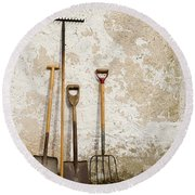Garden Tools Round Beach Towel