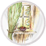 Garden View Round Beach Towel by Teresa White