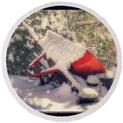 Gardener's Winter Dream Round Beach Towel