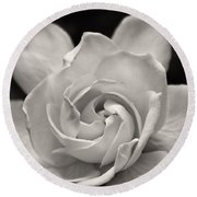 Gardenia Bloom In Sepia Round Beach Towel