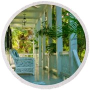 Round Beach Towel featuring the painting Gardens Porch In Key West by David  Van Hulst