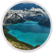 Garibaldi Lake Blues Greens And Mountains Round Beach Towel