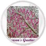 Garlands In The Snow Round Beach Towel