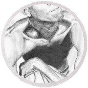 Round Beach Towel featuring the drawing Garnett 2 by Tamir Barkan
