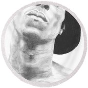 Round Beach Towel featuring the drawing Garnett 3 by Tamir Barkan