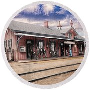 Garrison Train Station Colorized Round Beach Towel