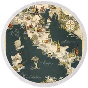 Gastronomic Map Of Italy 1949 Round Beach Towel