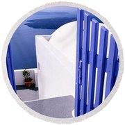Gate At The Terrace Of A House Round Beach Towel