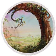 Gate Of Illusion Round Beach Towel