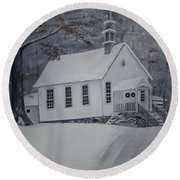 Gates Chapel - Ellijay - Signed By Artist Round Beach Towel