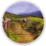 Gates On The Road. Wicklow Hills. Ireland Round Beach Towel