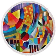 Round Beach Towel featuring the painting Gateway by Jason Williamson